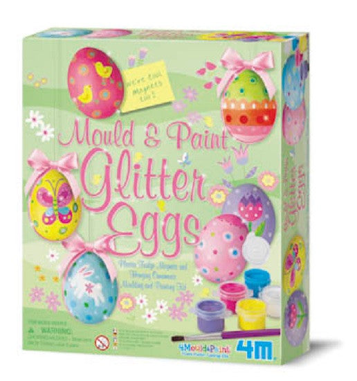 Mold & Paint Glitter Eggs 4M Plaster Fridge Magnet & Decoration Art Kit-Easter - Off The Wall Toys and Gifts