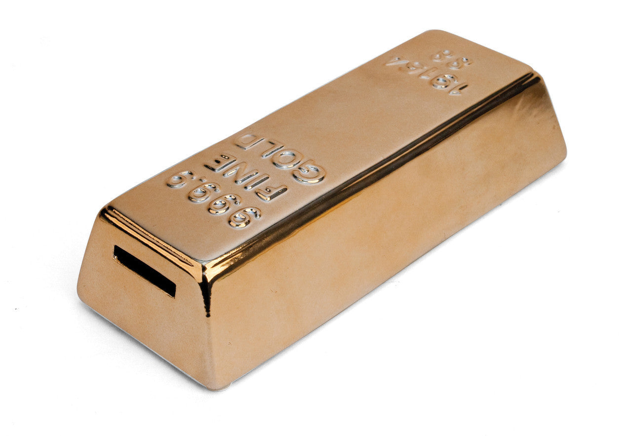 Gold Bar Coin Money Bank By Kikkerland - Off The Wall Toys and Gifts