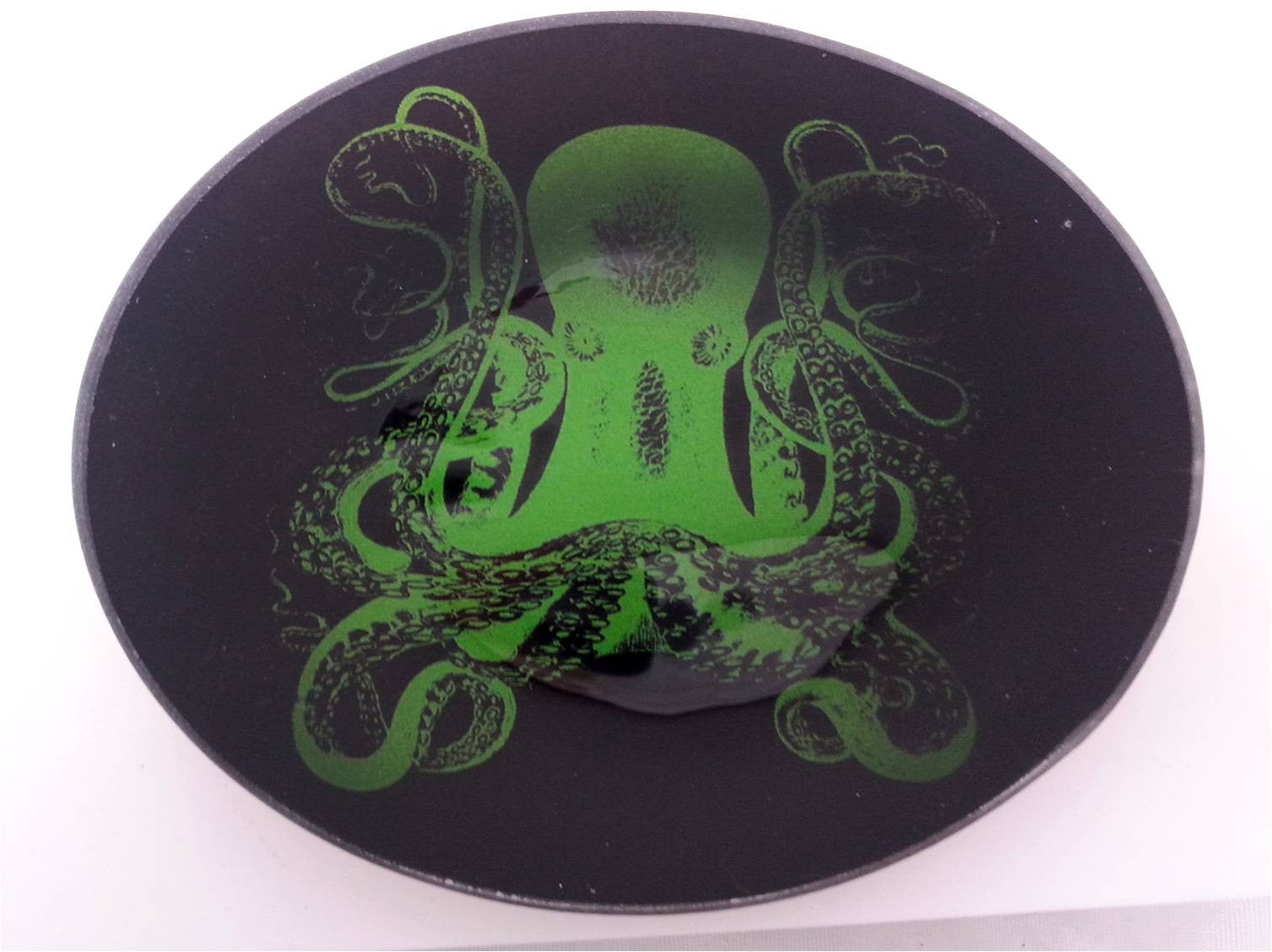 Green Octopus - 4 Inch Round Glass Trinket Tray - Off The Wall Toys and Gifts