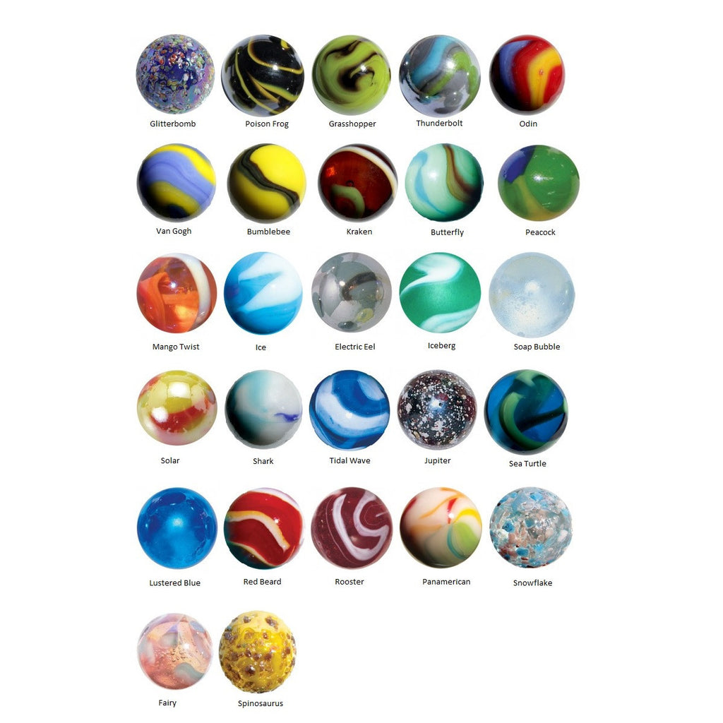 22-25mm Glass Marble Collection of 27 Different Patterns w/12 Pk Marble Display Rings