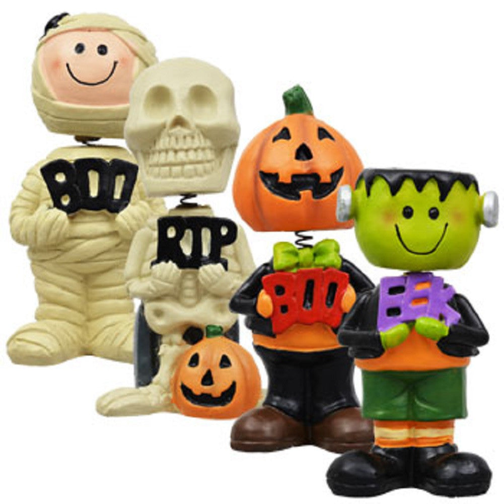 Halloween Bobblehead Set of 4 Includes Skeleton, Mummy, Frankenstein & Pumpkin Man - Off The Wall Toys and Gifts