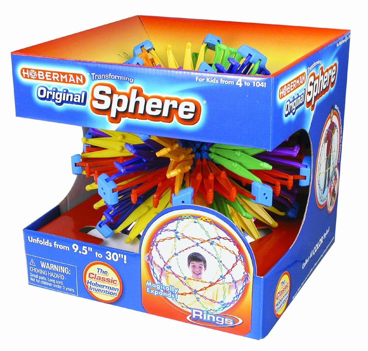 Hoberman Sphere RINGS - Large Transforming  Polyhedral Toy - Expands 9.5 to 30in - Off The Wall Toys and Gifts