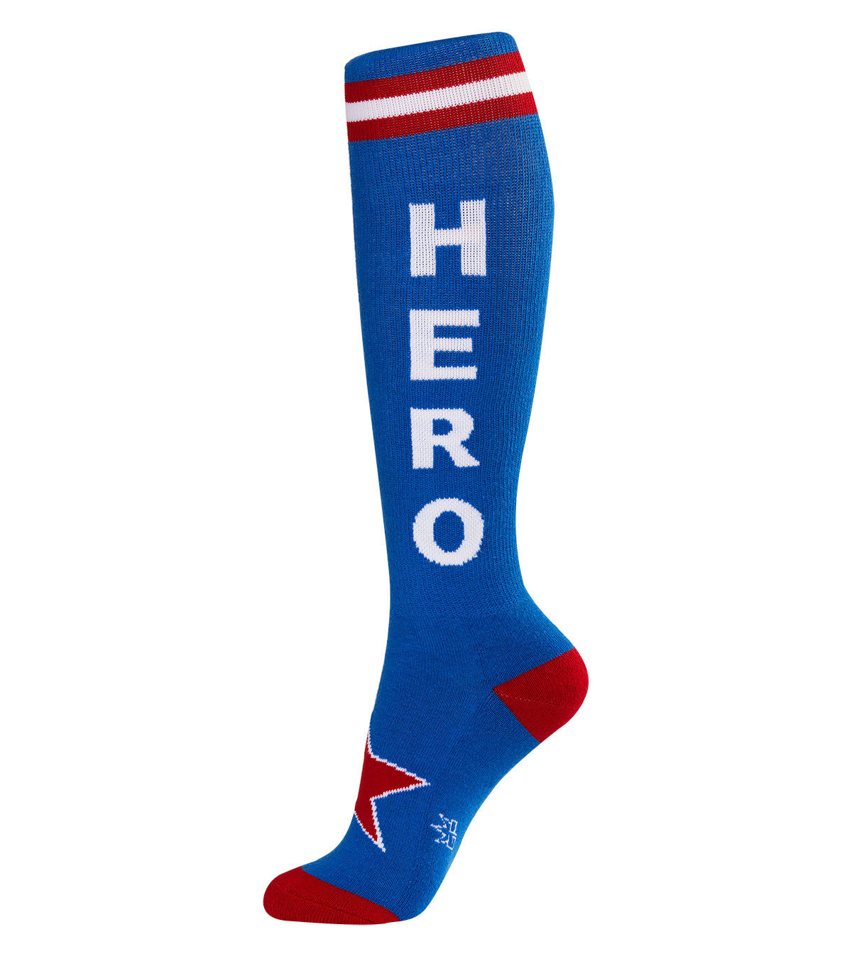 Hero Socks - Blue, Red & White Unisex Athletic Knee Socks - Off The Wall Toys and Gifts