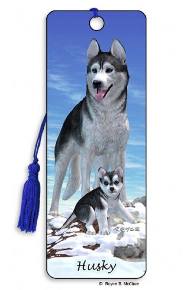 Husky Dog 3D Lenticular Bookmark with Tassel by Artgame
