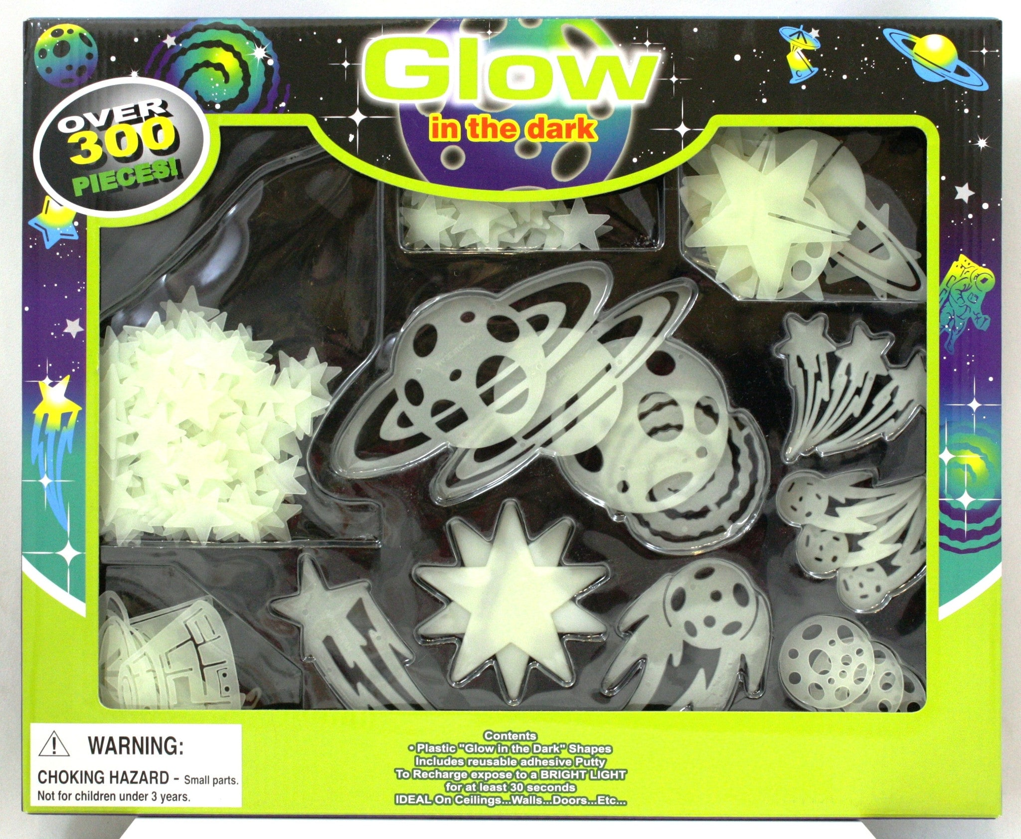 Deluxe Glow in the Dark Planets & Stars w/300+ Pieces - Off The Wall Toys and Gifts