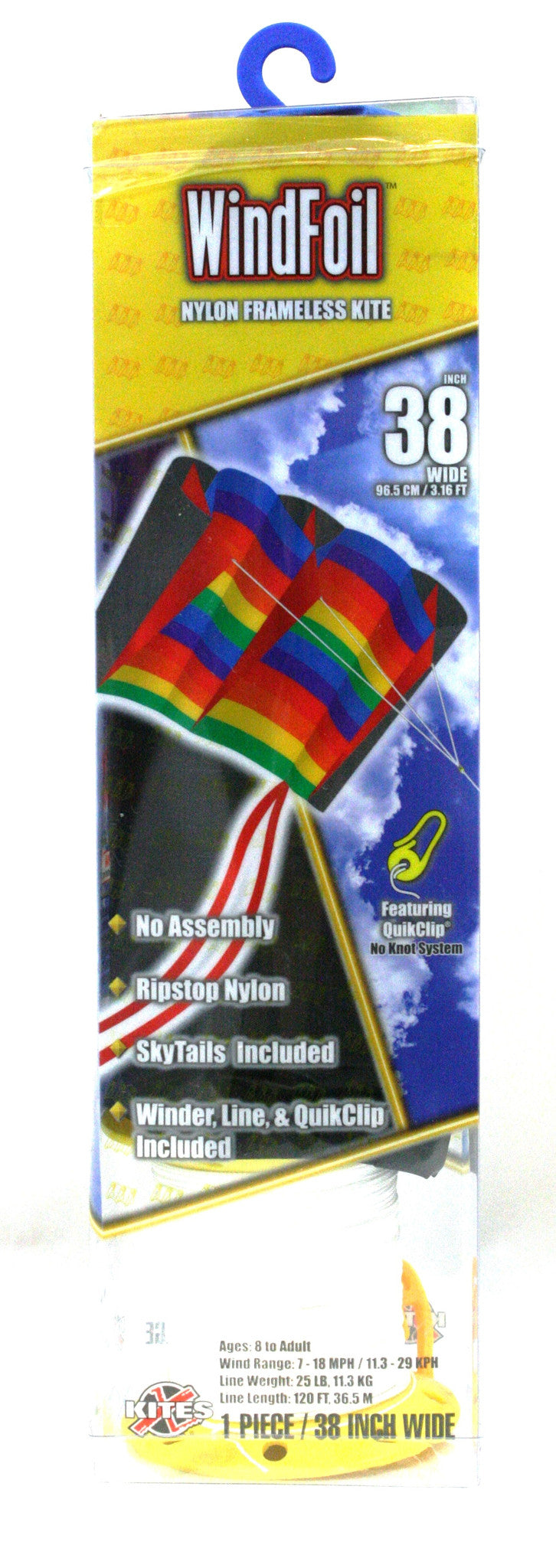 "38"" Windfoil Frameless Ripstop Nylon Kite by X-Kites - Rainbow Stripes - Off The Wall Toys and Gifts"