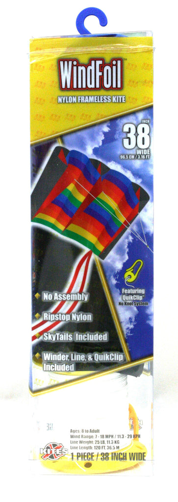 "38"" Windfoil Frameless Ripstop Nylon Kite by X-Kites - Rainbow Stripes"