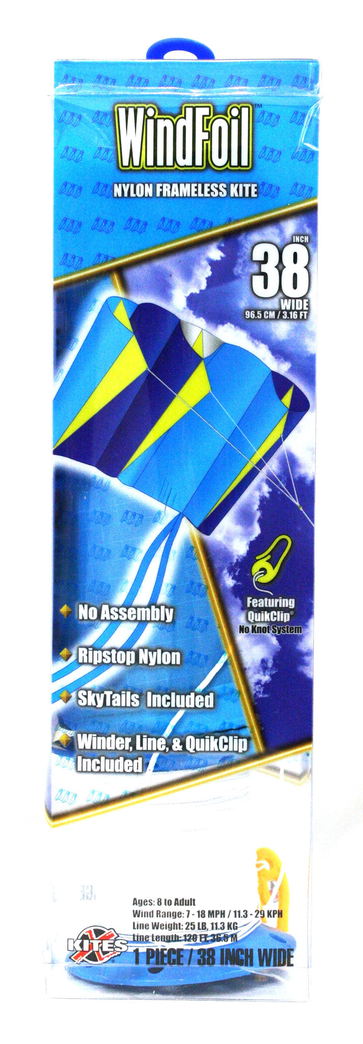 "38"" Windfoil Frameless Ripstop Nylon Kite by X-Kites - Blue Ice - Off The Wall Toys and Gifts"