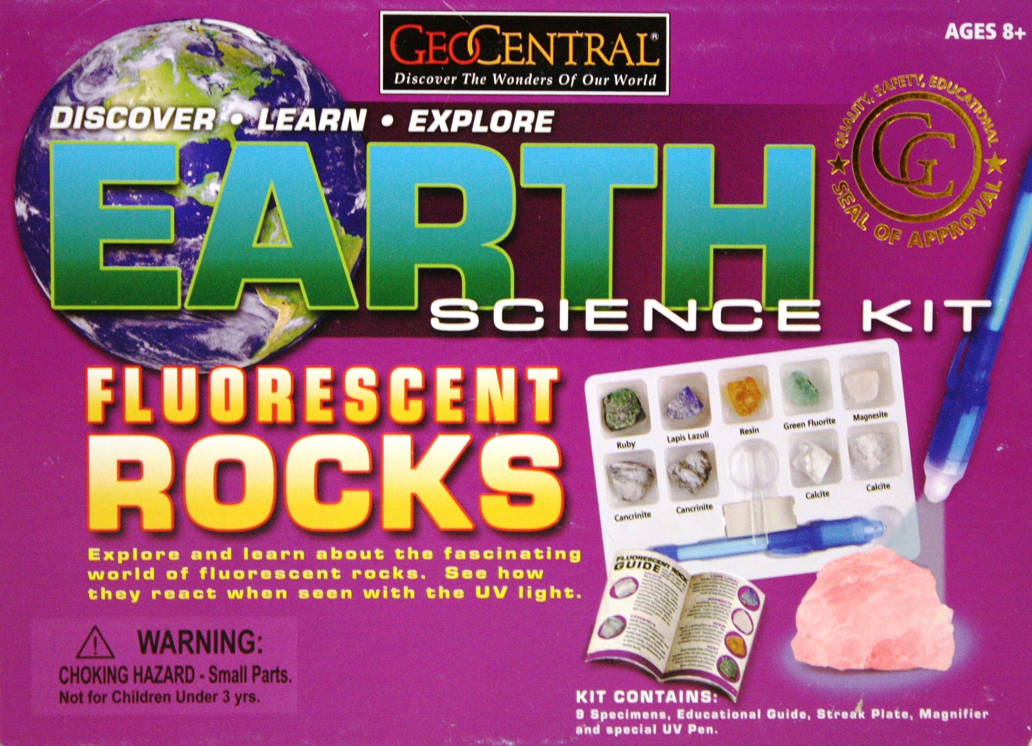 Earth Science Fluorescent Rocks Kit w/UV Pen by GeoCentral - Off The Wall Toys and Gifts