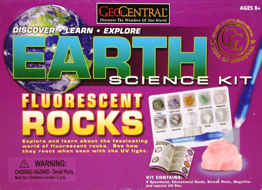 Earth Science Fluorescent Rocks Kit w/UV Pen by GeoCentral