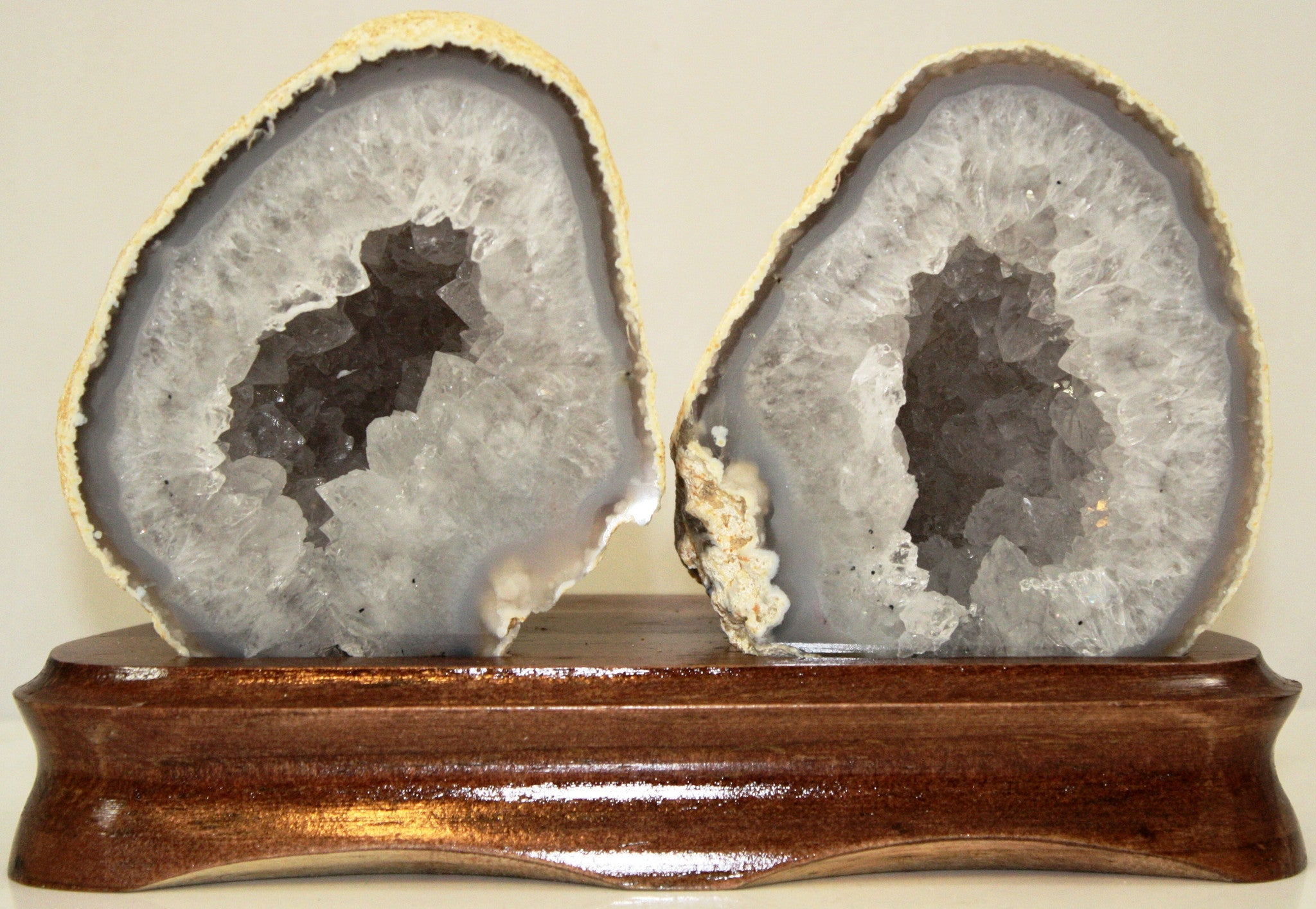 Pair of Matching Geodes on Wood Base - Off The Wall Toys and Gifts