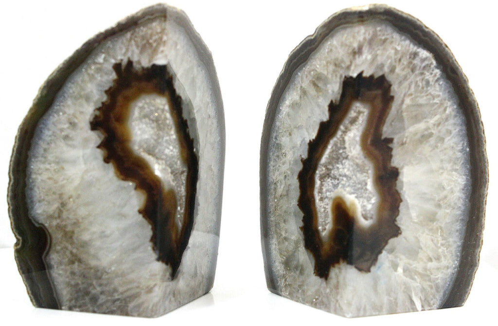 Amber Agate Geode Bookends