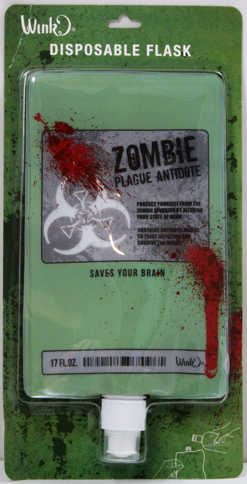 17oz Zombie Plague Antidote Disposable Flask - Off The Wall Toys and Gifts