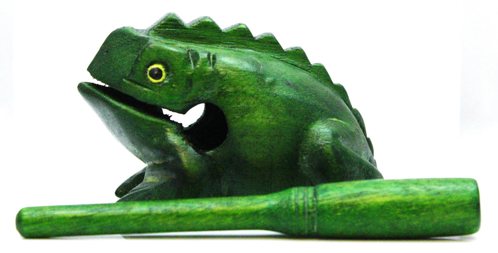 Green Wooden Croaking Frog Güiro Percussion Instrument, w/Rasp