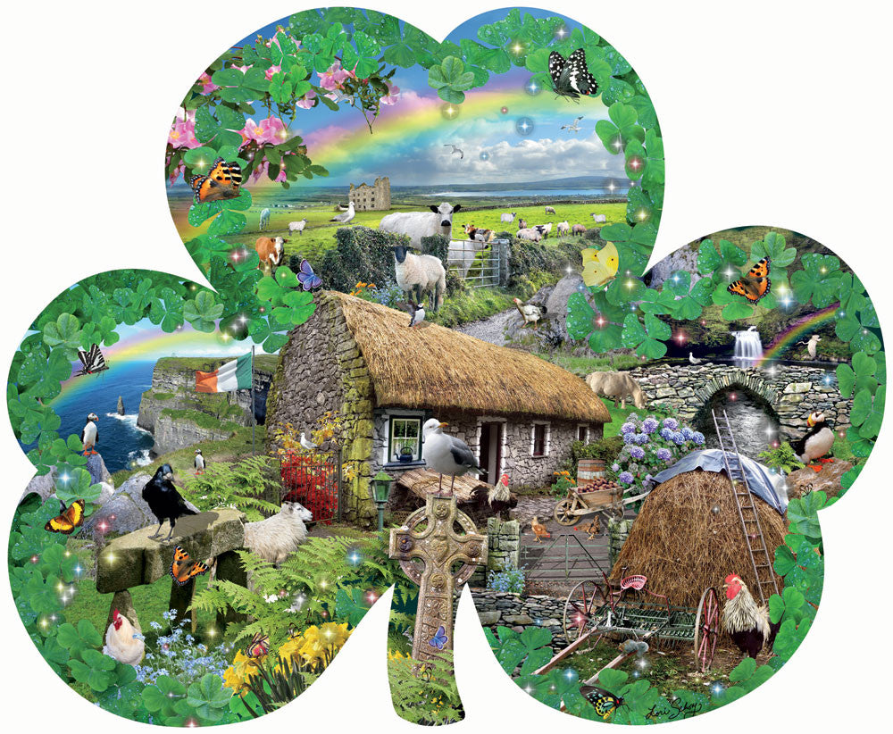 Irish Charm Shamrock Shaped Jigsaw Puzzle 1000 Piece