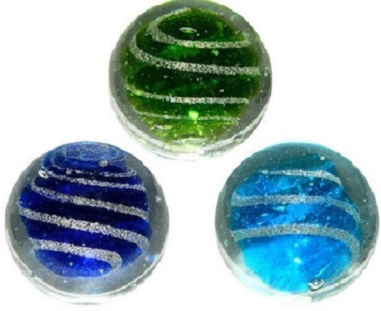 "1"" Handmade Glass Jetstream Marbles - Pack of 3, w/Stands"