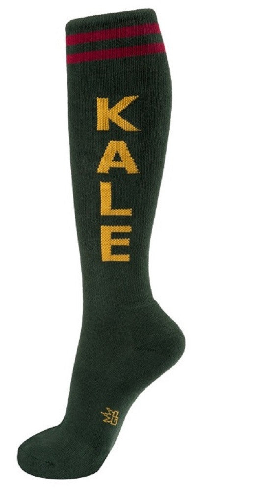 Kale Socks - Evergreen, Yellow and Maroon Unisex Knee Socks - Off The Wall Toys and Gifts