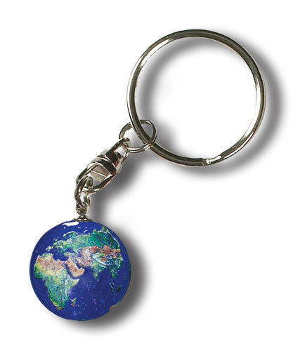 Blue Earth Glass Marble Pendant Keychain - 7/8 Inch (22mm)