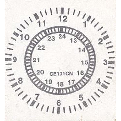 Large 24 Hour Clock Rubber Stamper: Time Teaching  Aid