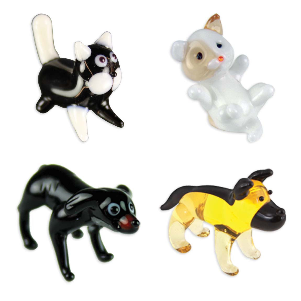 Looking Glass Torch - 2 Feline & 2 Canine Figurines - Cat, Kitten, Lab & Doberman (4-Pack) - Off The Wall Toys and Gifts