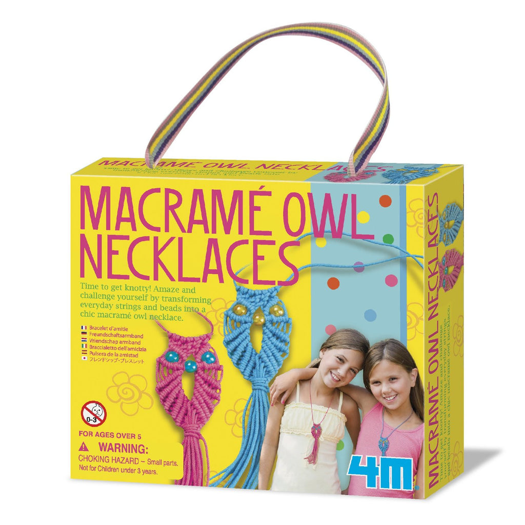 Make Your Own Macrame Owl Necklaces - 4M Craft Kit