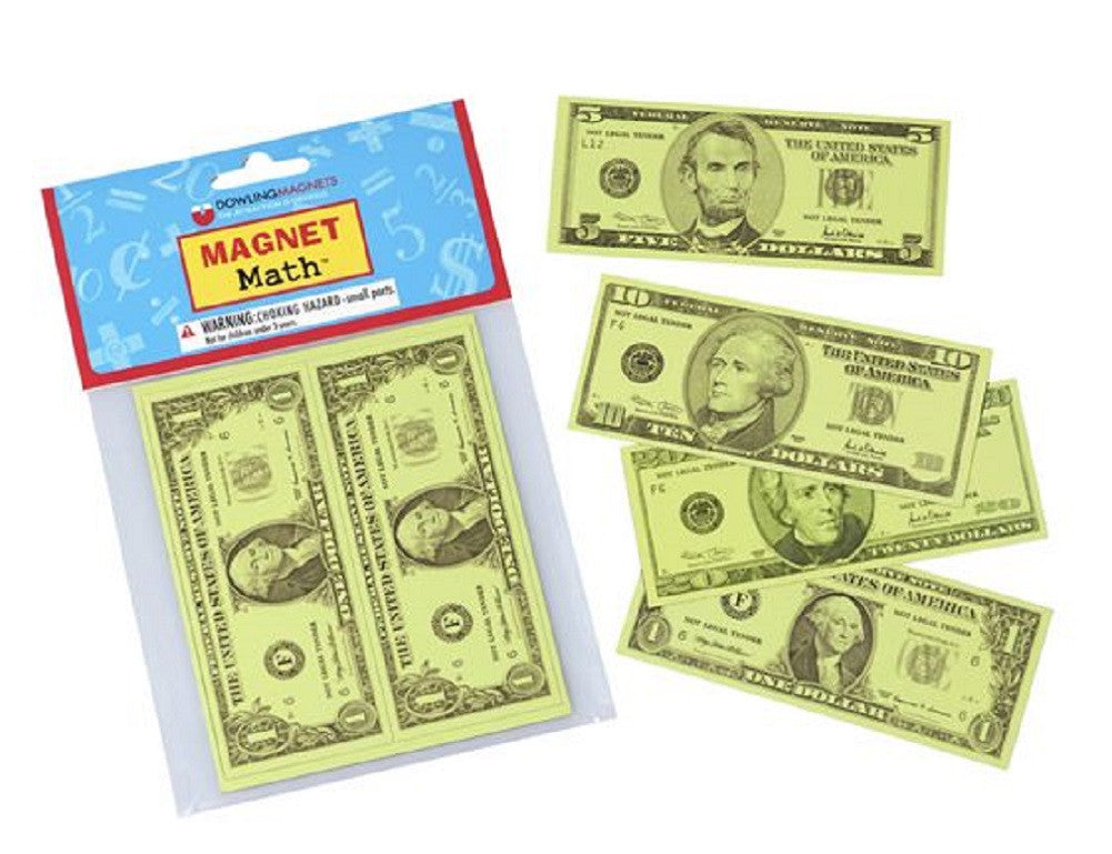 Magnet Math - 12 Assorted Magnetic US Currency Replicas - Off The Wall Toys and Gifts