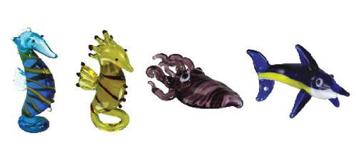 Looking Glass Torch - Ocean Figurines - 2 Different SeaHorses, Cuttlefish & Marlin (4-Pack) - Off The Wall Toys and Gifts