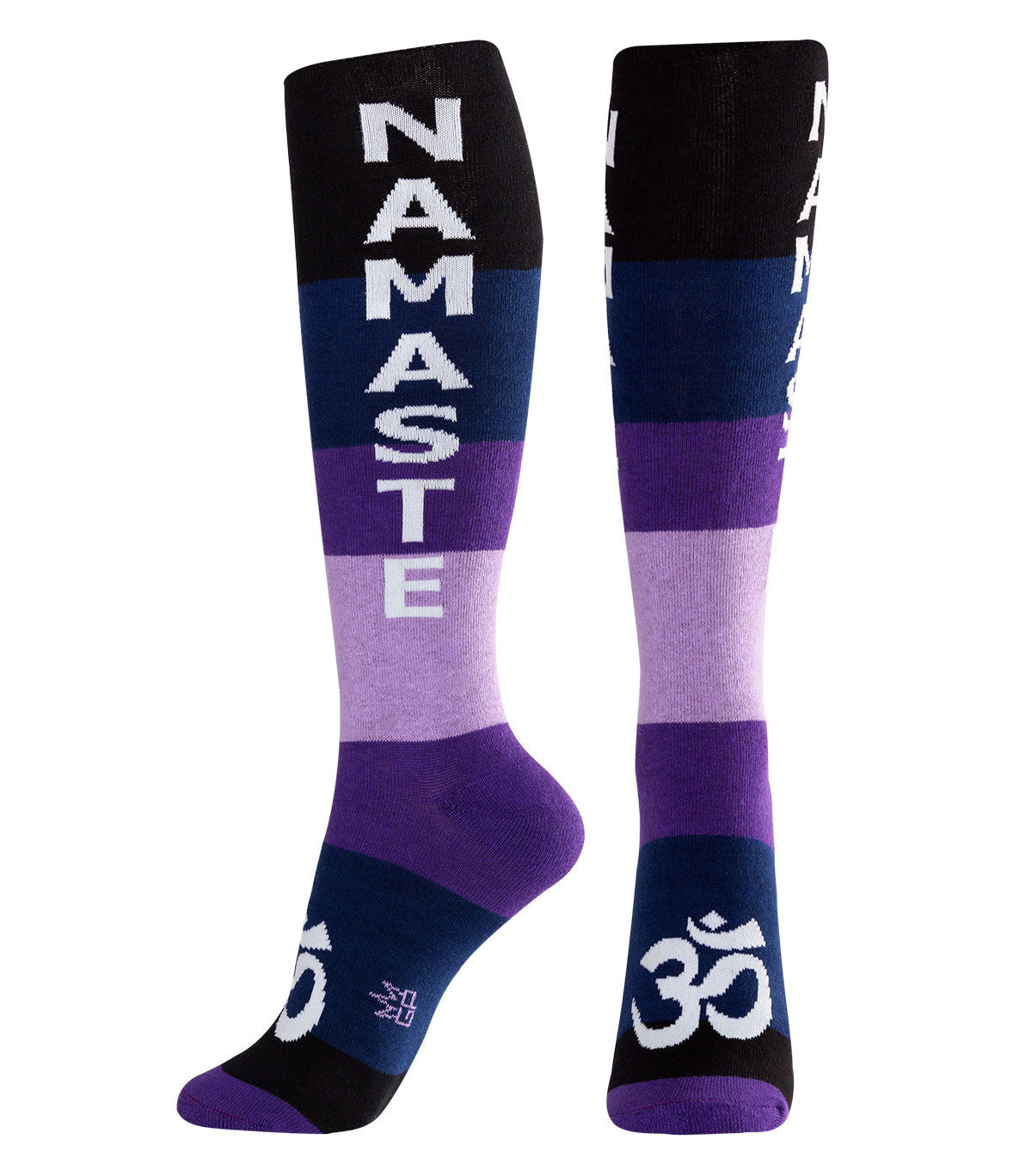 NAMASTE Socks - Navy, Purple, Lavender, Black & White Unisex Dress Knee Socks - Off The Wall Toys and Gifts