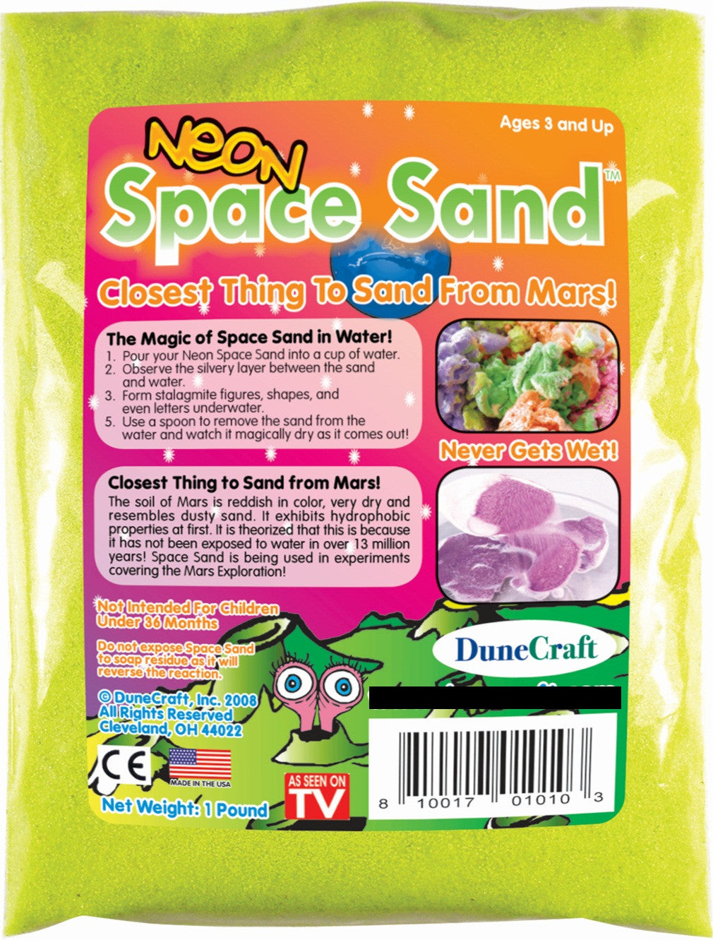 Neon Yellow Space Sand: 1lb of Hydrophobic Sand - Off The Wall Toys and Gifts