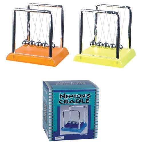 Newtons Cradle Kinetic Energy Physics 4.5 Inches Tall on Colored Base - Off The Wall Toys and Gifts