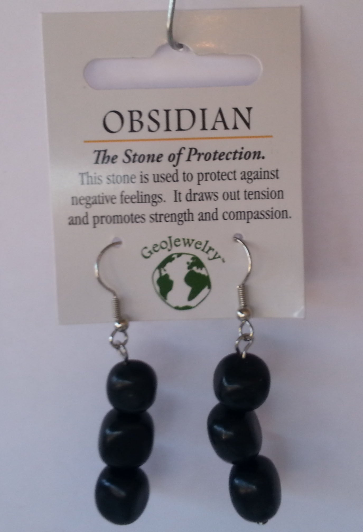 Natural Gemstone Obsidian Triple Nugget Earrings - Off The Wall Toys and Gifts