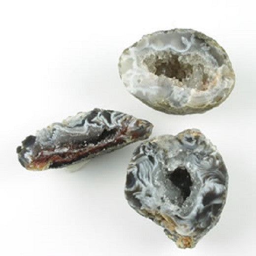 GeoCentral - 3 Cut Ocos Rock Mineral Specimens  - Tiny Geodes - w Info Cards - Off The Wall Toys and Gifts
