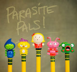 Parasite Pals Pencil Toppers by Accoutrements - Set of 5 Collectible Figures - Off The Wall Toys and Gifts