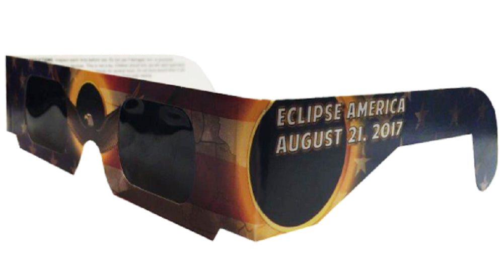 The Eclipser Safe Solar Eclipse Glasses CE Certified, America Eagle - Patriotic Frame - Pack of 3