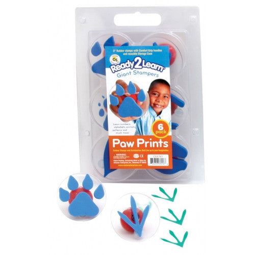 Set of 6 Paw Print Giant Rubber Stampers w case/ Cat Horse Bird Etc - Off The Wall Toys and Gifts