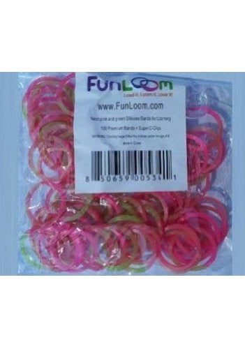 FunLoom Silicone Bands - Pink And Green - Off The Wall Toys and Gifts