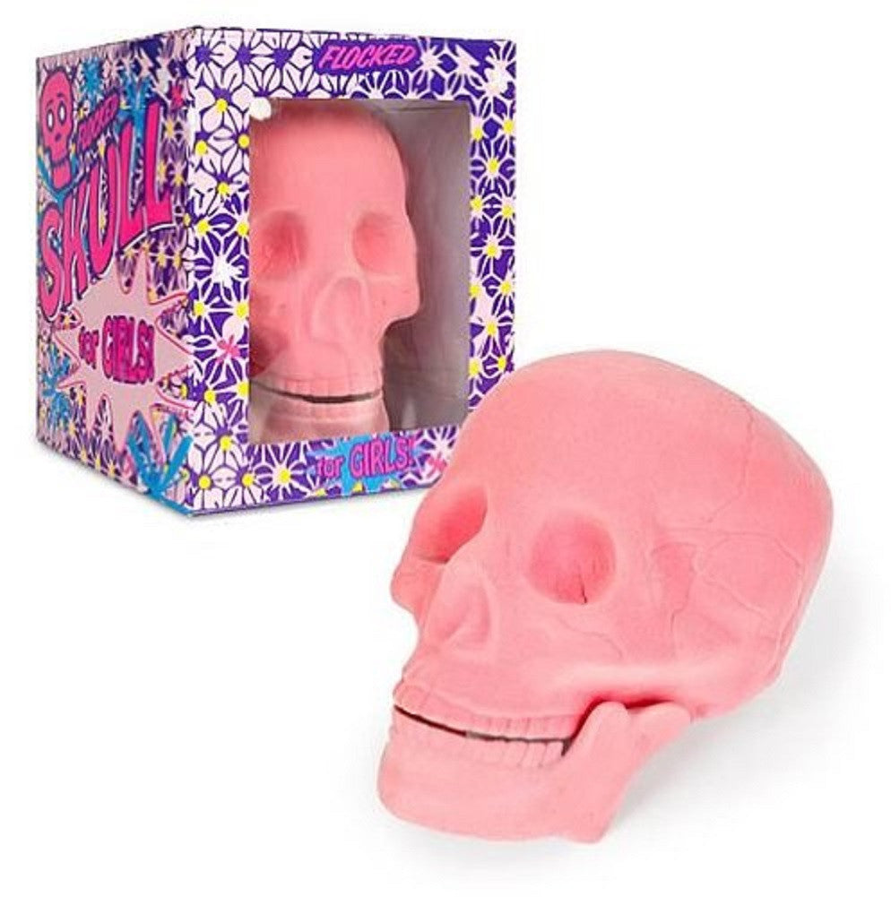 Pink Flocked Skull  Shape: Human Fuzzy Plastic - Off The Wall Toys and Gifts