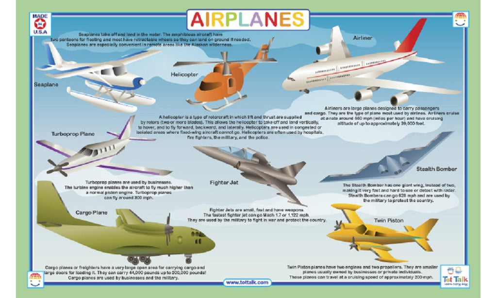 Airplanes - Activity Placemat by Tot Talk