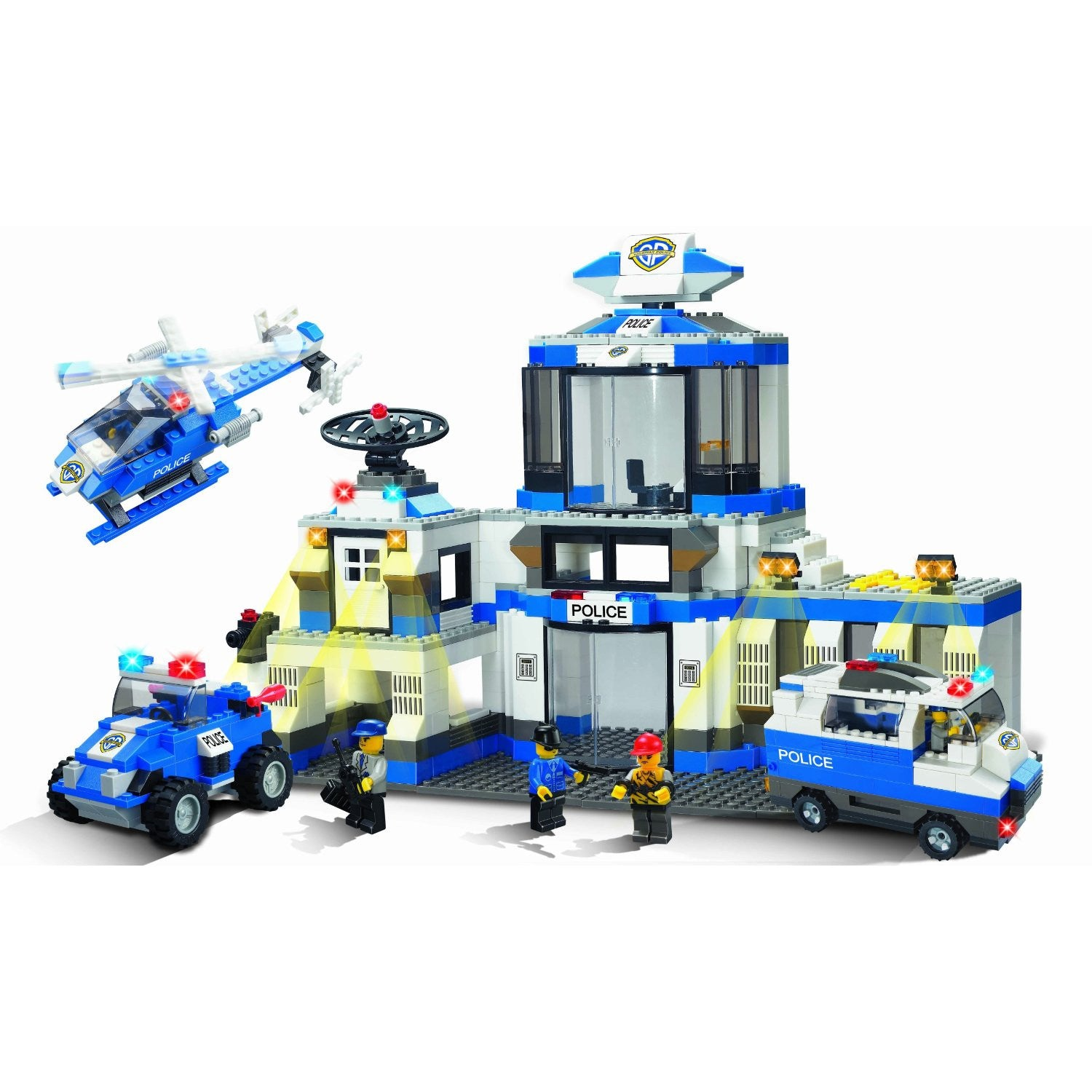Brictek Police Station Building Block Set - Over 800 Pieces - Off The Wall Toys and Gifts