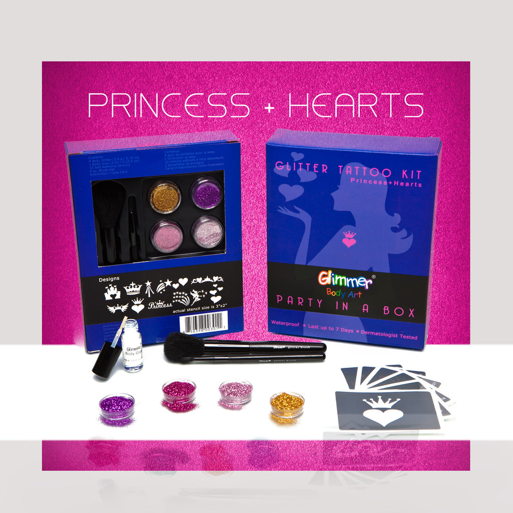 Glitter Tattoo Kit - Princess + Hearts - Party In A Box