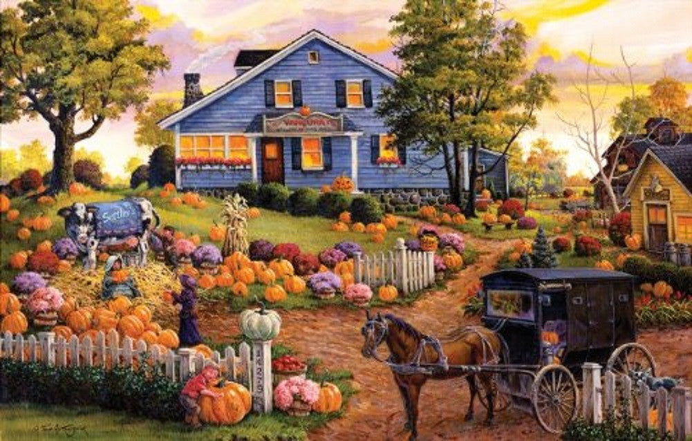 The Cow & the Pumpkin Farm - Jigsaw Puzzle - 1000 pc