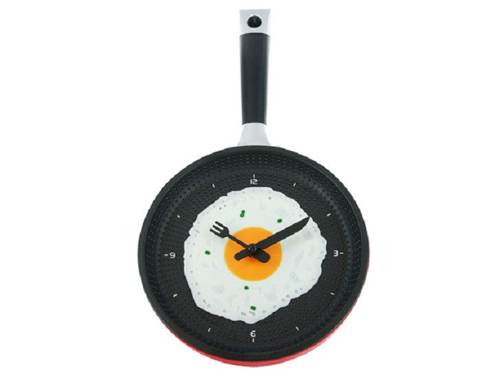Fried Egg in Skillet Wall Clock Red Frying Pan