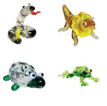 Looking Glass Torch Figurines - Set of 4 Reptile Sculptures - Off The Wall Toys and Gifts