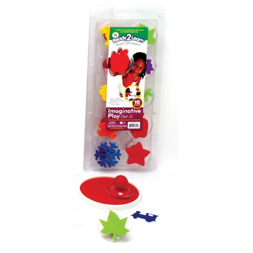 Imaginative Play Giant Rubber Stamper Stamp Set #2 w/ 10 Stamps & Case /Dog, Frog etc - Off The Wall Toys and Gifts