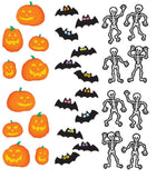 Mrs. Grossman's Halloween Stickers, Set D - Jack-O-Lanterns, Bats & Skeletons - Off The Wall Toys and Gifts