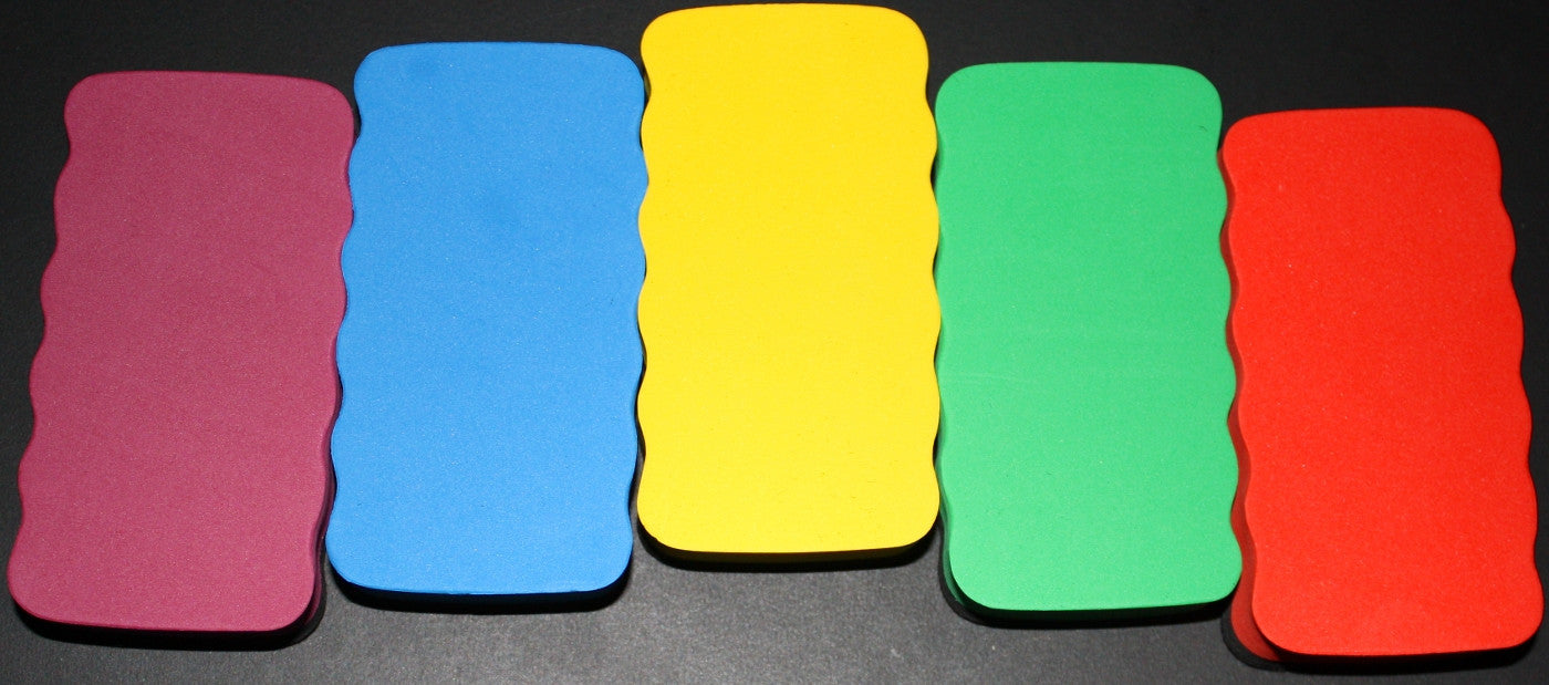 5 Magnetic White Board Erasers Assorted Colors - Off The Wall Toys and Gifts