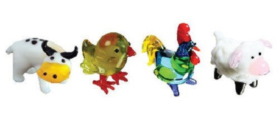 Looking Glass Torch Figurines - Steer, Chick, Rooster & Lamb (4-Pack) - Off The Wall Toys and Gifts