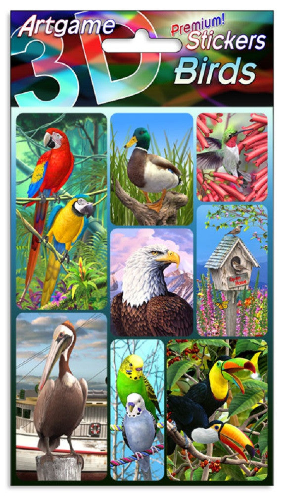 Birds 3D Lenticular Stickers by Artgame - One Sheet of 8 Assorted Bird Stickers