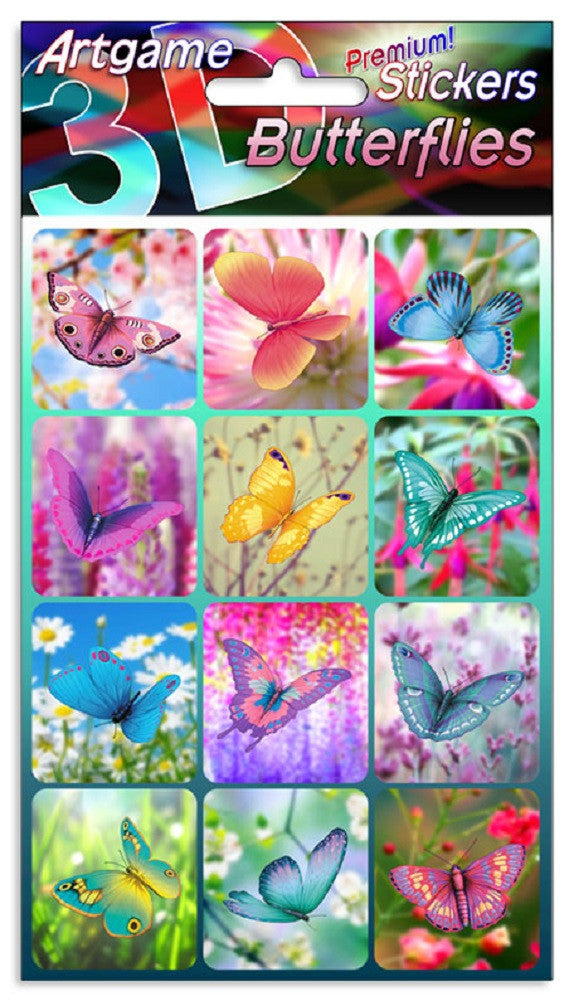 Butterflies 3D Lenticular Stickers by Artgame - One Sheet of 12 Assorted Butterfly Images