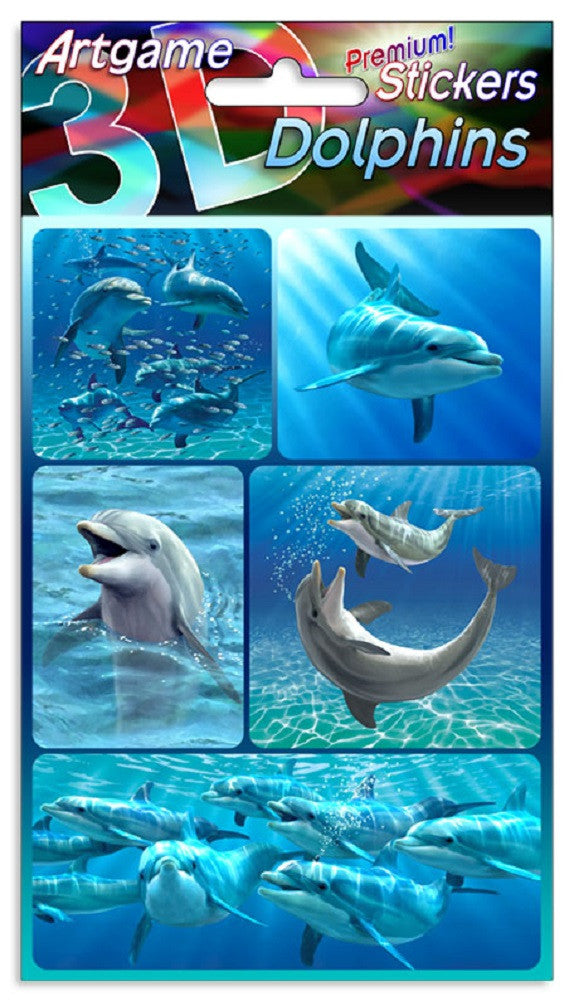 Dolphins 3D Lenticular Stickers by Artgame - One Sheet of 5 Assorted Dolphin Stickers